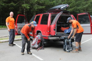 Dave, Dan, and Brian getting ready to go...At Sol Duc Trailhead...