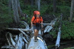 Crossing the North Fork via log bridge...