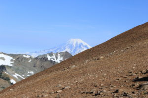 On a clear day, we could see clearly the big 3 volcanoes from the ridge.
