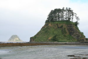 Just past Ozette Island, a large rock island off the coast, is Tskawahyah Island, and behind it, in the distance, is the first rock of Bodelteh Islands