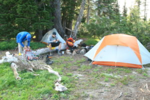 Relaxing at camp, a well deserved break from the long slog we endured this day...