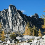 Stony faced Prussic Peak, with Golden Larch.