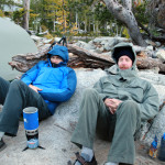 Greg and Dan, vainly trying to stay warm...Taken right before heading for the refuge of the rock shelf.