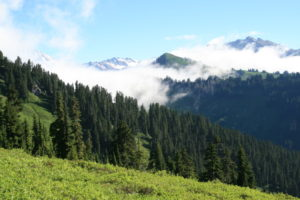 Just on the trail past the lake, we get our first views of Glacier Peak, rising up through the low clouds