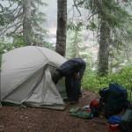 Greg sets up camp at Snoqualmie Lake