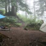 Tarp and tent at Snoqualmie Lake