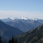 Distant glaciated peaks in the Glacier Peaks Wilderness