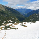 Trudging up snow field, above Summerland