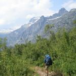 Greg on the trail, with Bonanza Peak in the immediate distance.