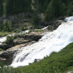 Trail Falls, pouring out of Hart Lake, forming Railroad Creek.