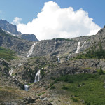 More waterfalls, as the melting glacial water flows from Bonanza Peak.