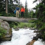 Dan and Greg, on the footbridge over Railroad Crk, to upper Lyman Lakes.