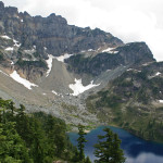 Columbia Peak above the largest of Twin Lakes