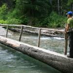 Greg crossing the East Fork Foss River