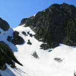 La Bohn Peak, with the gap we must climb.