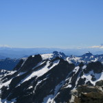 Mt. Adams, and Mt. Rainier, visible across Bears Breast, from Mt. Hinman