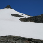 Sahale Peak, and Sahale Glacier, specks are climbers..