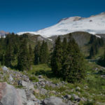Pretty meadows amid jumbled rock set at the base of Mt. Baker