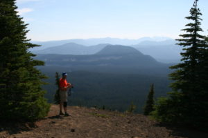 Greg on top of Tumac Mt., looking towards White Pass ski resort